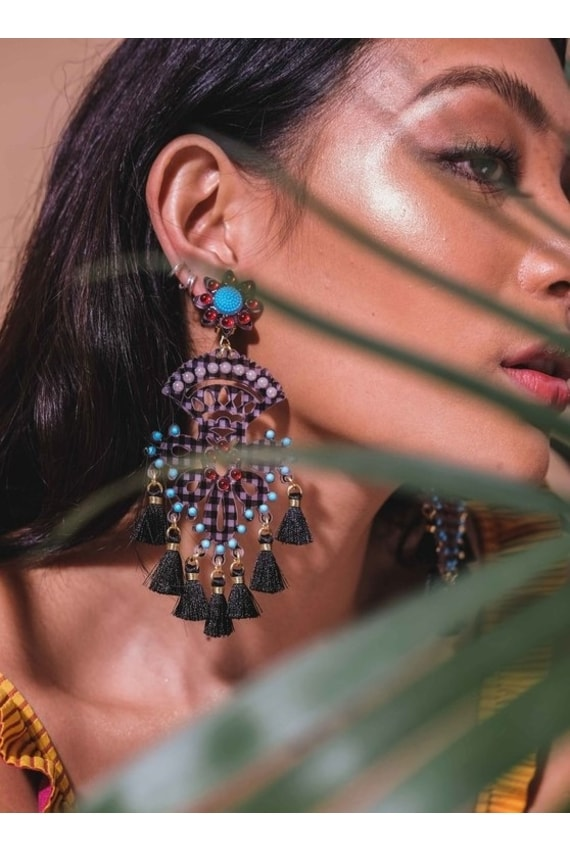 MERCEDES SALAZAR Black Chandelier Earrings, P8,500