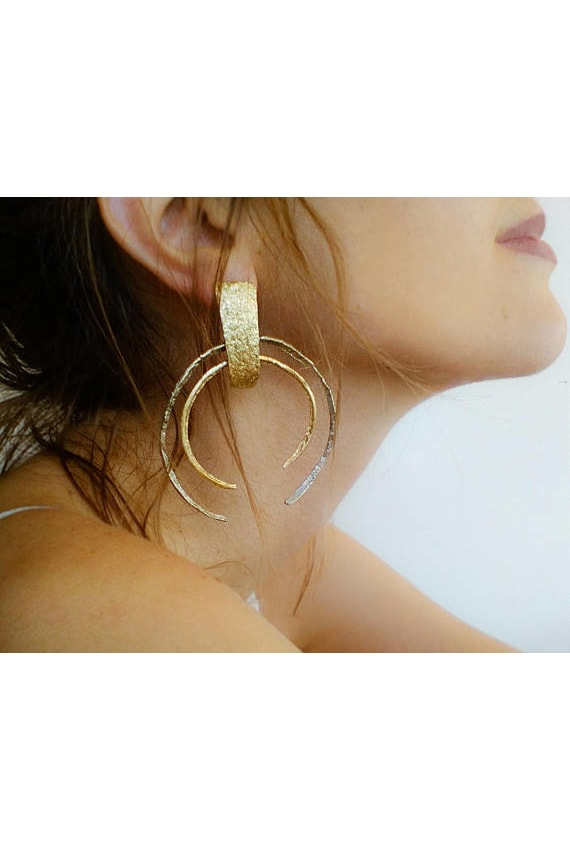 MYTOTALHANDMADE Large Open Hoop Brass Earrings, P2,043.01