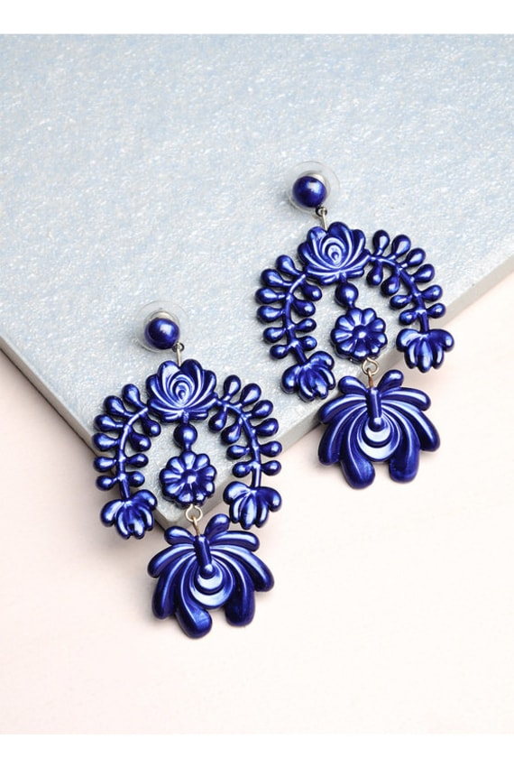 LOKALWEAR Garland Chandelier Earrings in Metallic Blue, P2,250